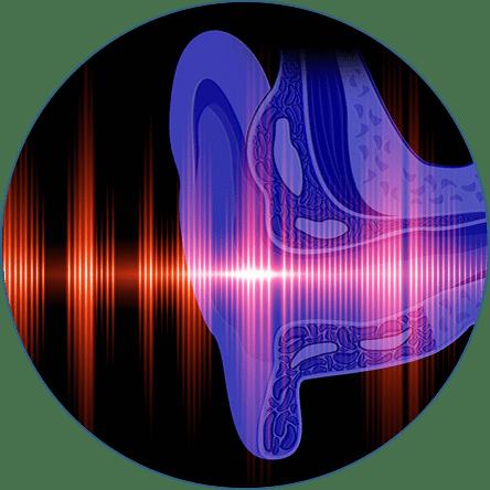 Illustration of ear and soundwaves